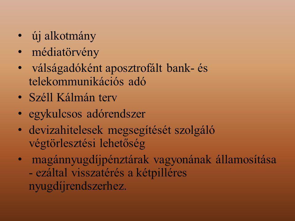 új alkotmány médiatörvény válságadóként aposztrofált bank- és telekommunikációs adó Széll Kálmán terv egykulcsos adórendszer devizahitelesek megsegítését szolgáló végtörlesztési lehetőség magánnyugdíjpénztárak vagyonának államosítása - ezáltal visszatérés a kétpilléres nyugdíjrendszerhez.