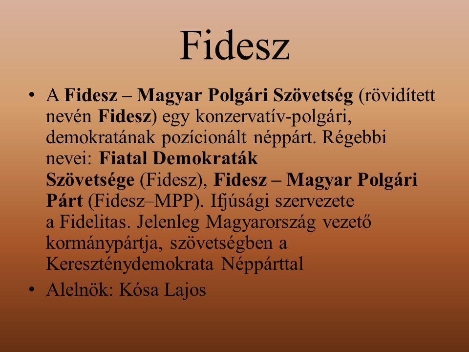 Fidesz A Fidesz – Magyar Polgári Szövetség (rövidített nevén Fidesz) egy konzervatív-polgári, demokratának pozícionált néppárt. Régebbi nevei: Fiatal