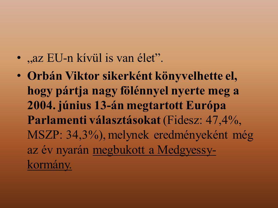 """""""az EU-n kívül is van élet"""". Orbán Viktor sikerként könyvelhette el, hogy pártja nagy fölénnyel nyerte meg a 2004. június 13-án megtartott Európa Parl"""