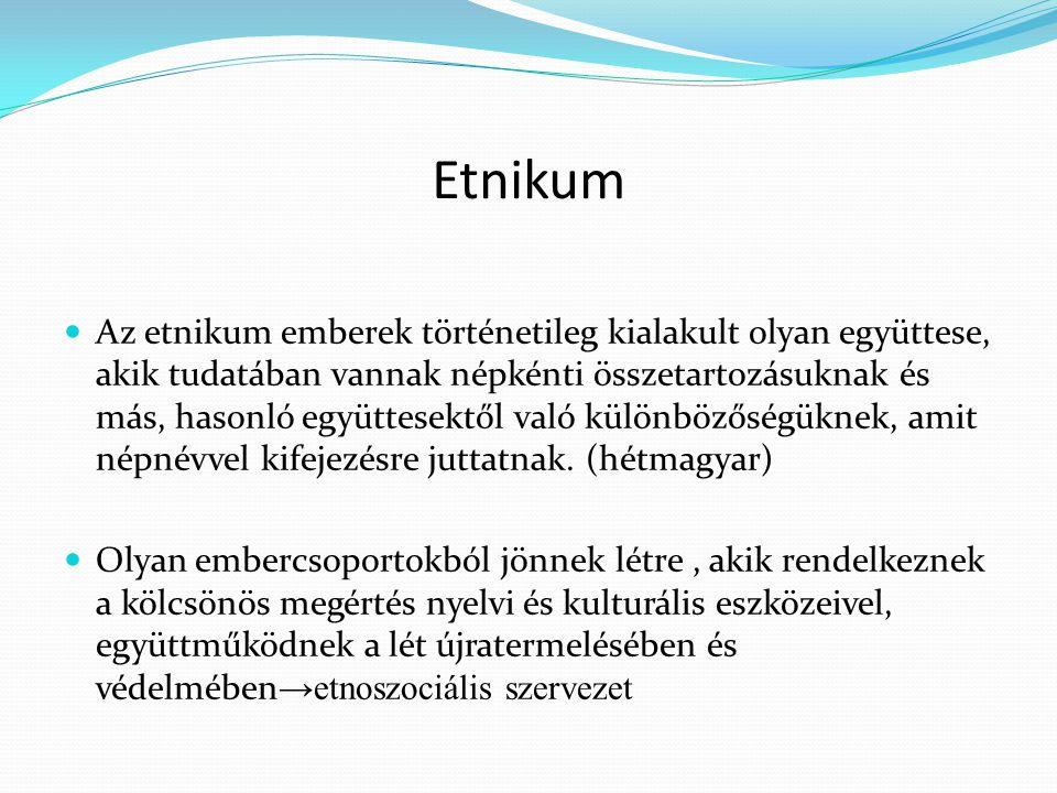 Etnikum Az etnikum emberek történetileg kialakult olyan együttese, akik tudatában vannak népkénti összetartozásuknak és más, hasonló együttesektől val