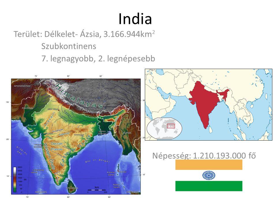 India Terület: Délkelet- Ázsia, 3.166.944km 2 Szubkontinens 7. legnagyobb, 2. legnépesebb Népesség: 1.210.193.000 fő