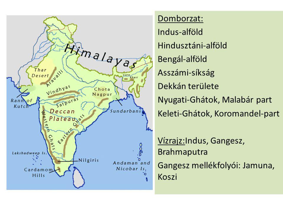 Domborzat: Indus-alföld Hindusztáni-alföld Bengál-alföld Asszámi-síkság Dekkán területe Nyugati-Ghátok, Malabár part Keleti-Ghátok, Koromandel-part Vízrajz:Indus, Gangesz, Brahmaputra Gangesz mellékfolyói: Jamuna, Koszi