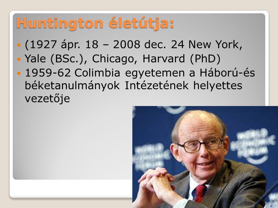 Huntington életútja: A Harvard professzora 1989-2000 vezeti a Stratégiai tanulmányok Intézetét Egyetemi pályafutása mellett politikai tanácsadó (Carter elnök 1977-78) Elméleti művét empirikus alapokra helyezte