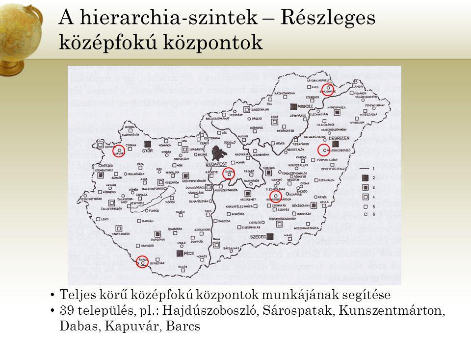 A hierarchia-szintek – Részleges középfokú központok Teljes körű középfokú központok munkájának segítése 39 település, pl.: Hajdúszoboszló, Sárospatak, Kunszentmárton, Dabas, Kapuvár, Barcs