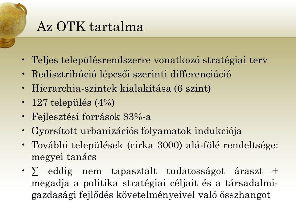 Az OTK tartalma Teljes településrendszerre vonatkozó stratégiai terv Redisztribúció lépcsői szerinti differenciáció Hierarchia-szintek kialakítása (6 szint) 127 település (4%) Fejlesztési források 83%-a Gyorsított urbanizációs folyamatok indukciója További települések (cirka 3000) alá-fölé rendeltsége: megyei tanács ∑ eddig nem tapasztalt tudatosságot áraszt + megadja a politika stratégiai céljait és a társadalmi- gazdasági fejlődés követelményeivel való összhangot