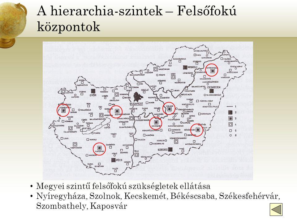 A hierarchia-szintek – Felsőfokú központok Megyei szintű felsőfokú szükségletek ellátása Nyíregyháza, Szolnok, Kecskemét, Békéscsaba, Székesfehérvár, Szombathely, Kaposvár