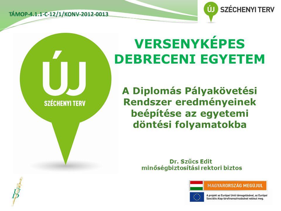 VERSENYKÉPES DEBRECENI EGYETEM A Diplomás Pályakövetési Rendszer eredményeinek beépítése az egyetemi döntési folyamatokba Dr.