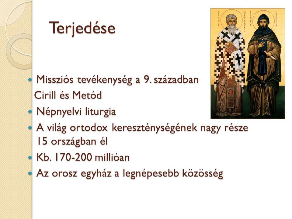 Terjedése Missziós tevékenység a 9. században Missziós tevékenység a 9. században Cirill és Metód Cirill és Metód Népnyelvi liturgia Népnyelvi liturgi