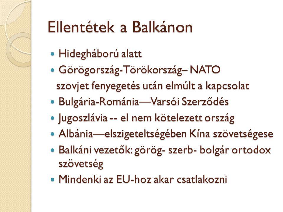 Ellentétek a Balkánon Hidegháború alatt Hidegháború alatt Görögország-Törökország– NATO Görögország-Törökország– NATO szovjet fenyegetés után elmúlt a