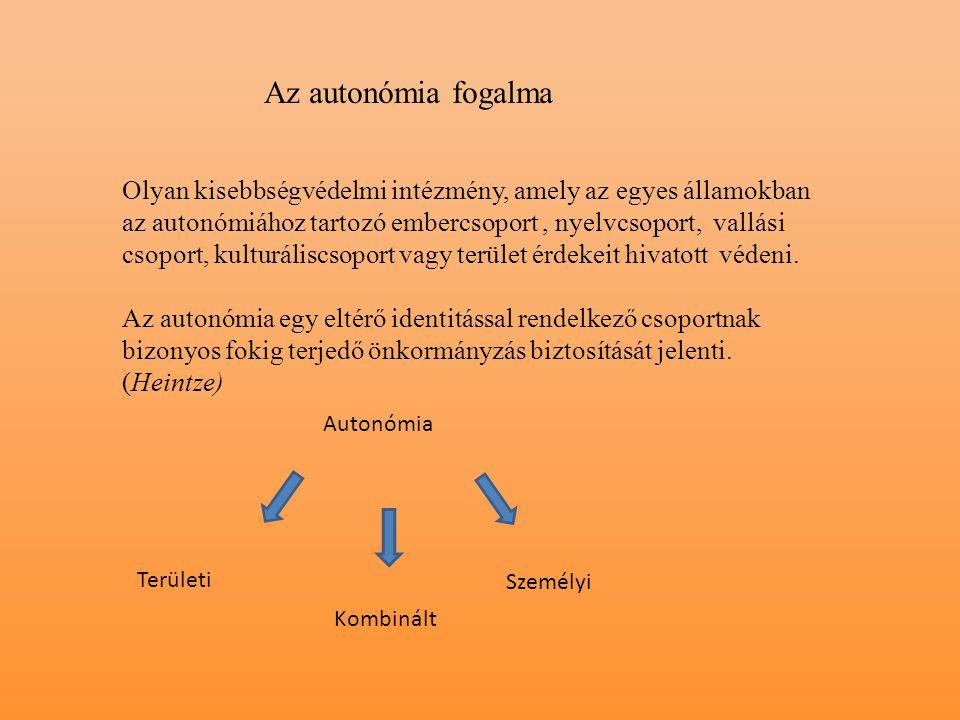 Az autonómia fogalma Olyan kisebbségvédelmi intézmény, amely az egyes államokban az autonómiához tartozó embercsoport, nyelvcsoport, vallási csoport,