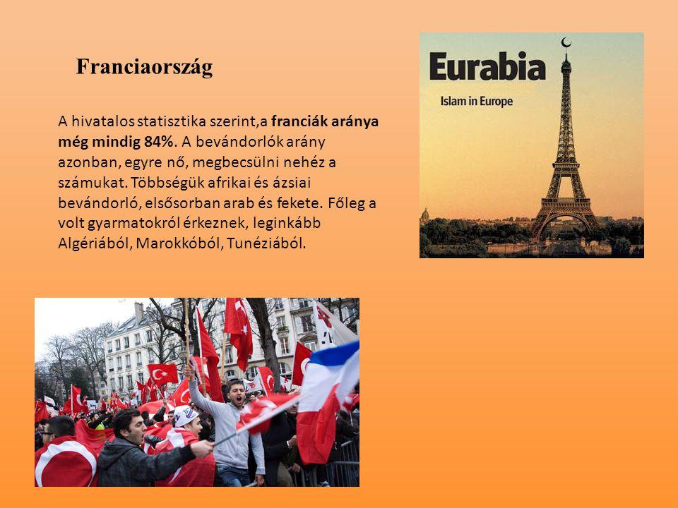 Franciaország A hivatalos statisztika szerint,a franciák aránya még mindig 84%. A bevándorlók arány azonban, egyre nő, megbecsülni nehéz a számukat. T