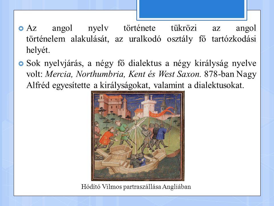  Az angol nyelv története tükrözi az angol történelem alakulását, az uralkodó osztály fő tartózkodási helyét.  Sok nyelvjárás, a négy fő dialektus a