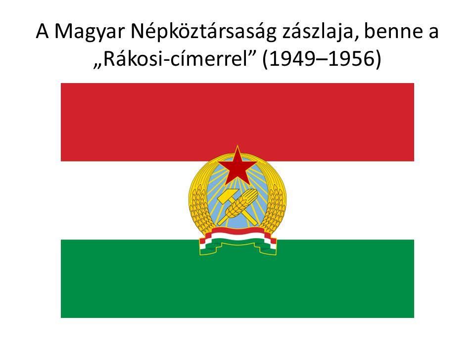 """A Magyar Népköztársaság zászlaja, benne a """"Rákosi-címerrel"""" (1949–1956)"""