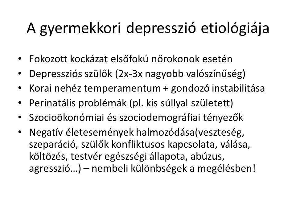 A gyermekkori depresszió etiológiája Fokozott kockázat elsőfokú nőrokonok esetén Depressziós szülők (2x-3x nagyobb valószínűség) Korai nehéz temperamentum + gondozó instabilitása Perinatális problémák (pl.