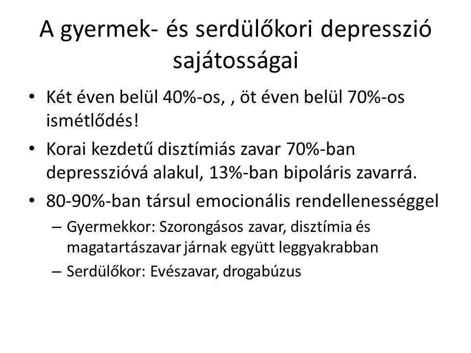 Gyermekkori depresszió és öngyilkosság Magyarországi magas gyakoriság Legfontosabb rizikófaktorok – Major depressziós epizód – Bipoláris zavar: öngyilkossági kísérletek gyakrabban ismétlődnek, súlyosabbak… Serdülőkori major depresszió magas arányban bipolárissá válik a következő öt évben.