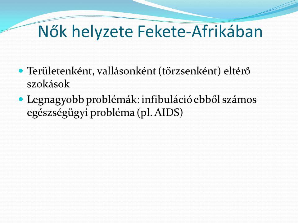 Nők helyzete Fekete-Afrikában Területenként, vallásonként (törzsenként) eltérő szokások Legnagyobb problémák: infibuláció ebből számos egészségügyi pr