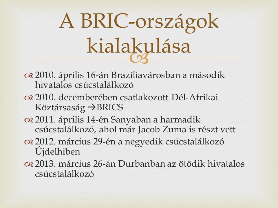   2010. április 16-án Brazíliavárosban a második hivatalos csúcstalálkozó  2010. decemberében csatlakozott Dél-Afrikai Köztársaság  BRICS  2011.