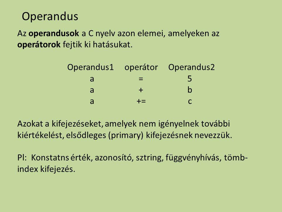 Operandus Az operandusok a C nyelv azon elemei, amelyeken az operátorok fejtik ki hatásukat. Operandus1 operátor Operandus2 a = 5 a + b a += c Azokat