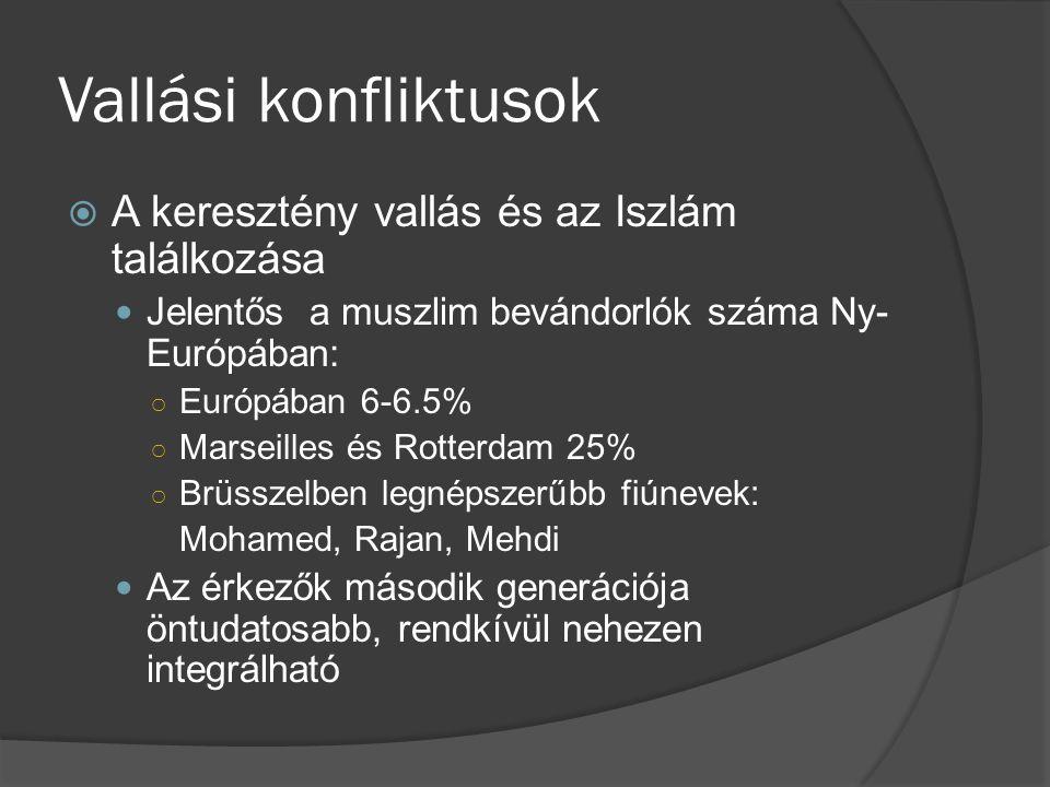 Vallási konfliktusok  A keresztény vallás és az Iszlám találkozása Jelentős a muszlim bevándorlók száma Ny- Európában: ○ Európában 6-6.5% ○ Marseille
