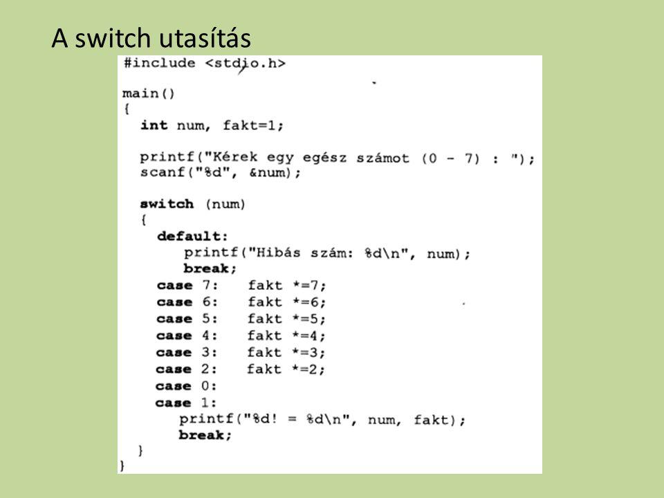 A switch utasítás