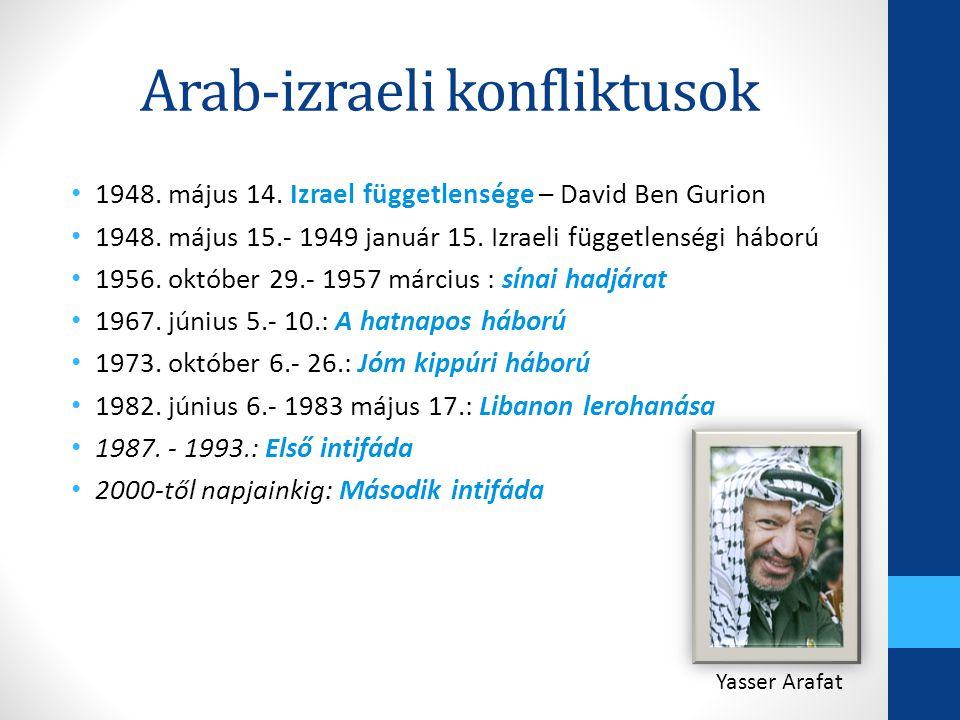 Arab-izraeli konfliktusok 1948. május 14. Izrael függetlensége – David Ben Gurion 1948. május 15.- 1949 január 15. Izraeli függetlenségi háború 1956.