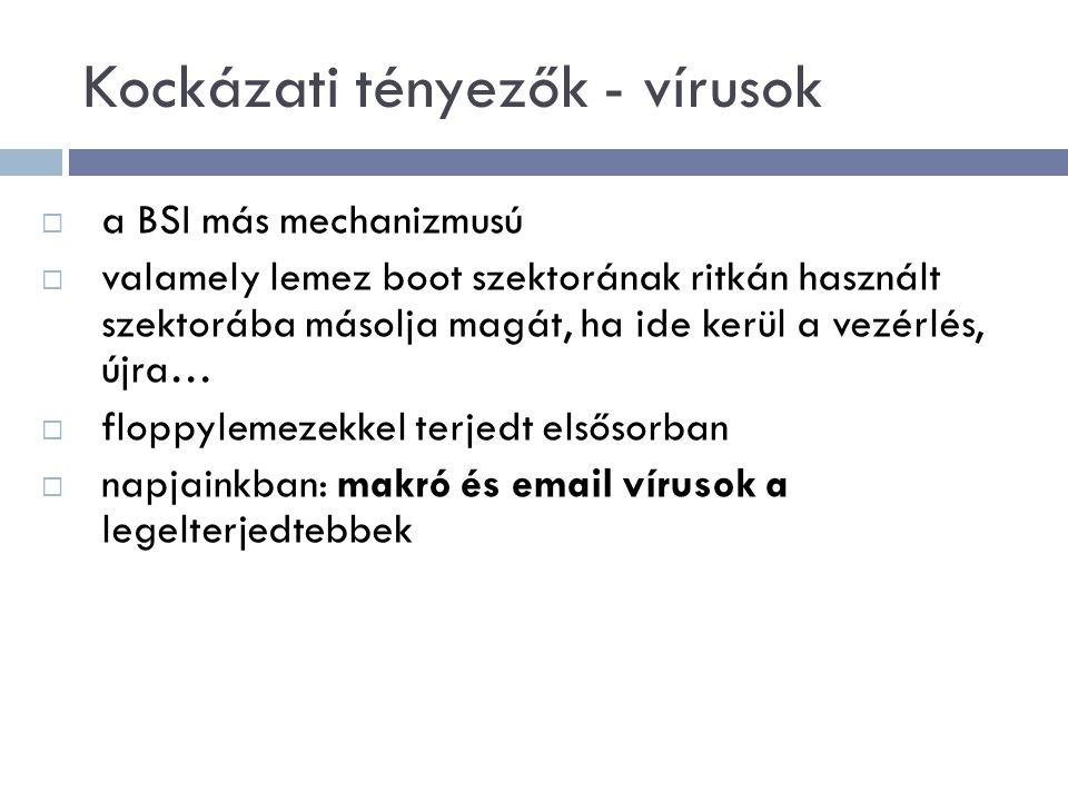 Kockázati tényezők - vírusok  a BSI más mechanizmusú  valamely lemez boot szektorának ritkán használt szektorába másolja magát, ha ide kerül a vezérlés, újra…  floppylemezekkel terjedt elsősorban  napjainkban: makró és email vírusok a legelterjedtebbek