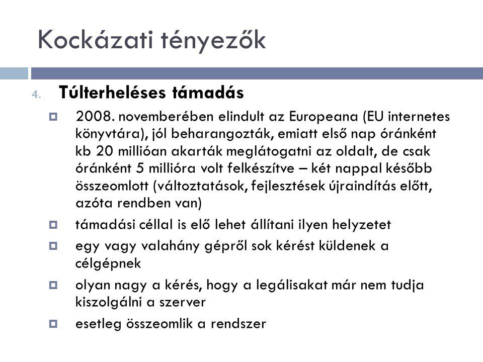 Kockázati tényezők 4.Túlterheléses támadás  2008.