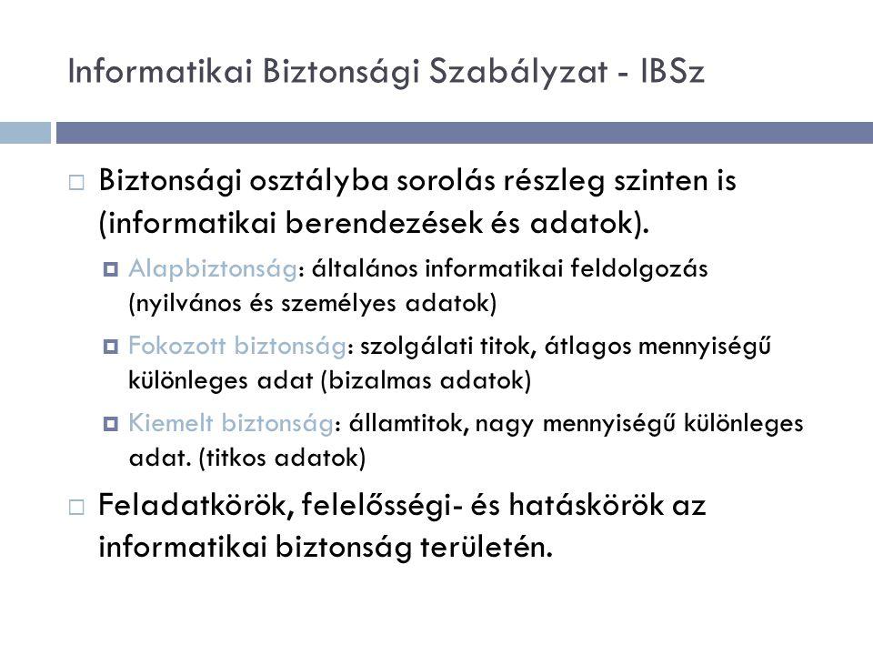 Informatikai Biztonsági Szabályzat - IBSz  Biztonsági osztályba sorolás részleg szinten is (informatikai berendezések és adatok).