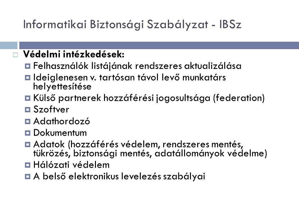  Védelmi intézkedések:  Felhasználók listájának rendszeres aktualizálása  Ideiglenesen v.