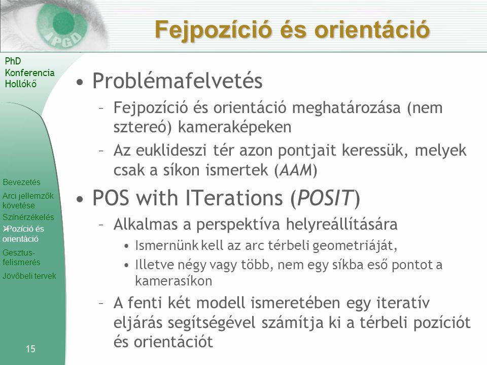 Bevezetés Arci jellemzők követése Színérzékelés  Pozíció és orientáció Gesztus- felismerés Jövőbeli tervek PhD Konferencia Hollókő Fejpozíció és orie