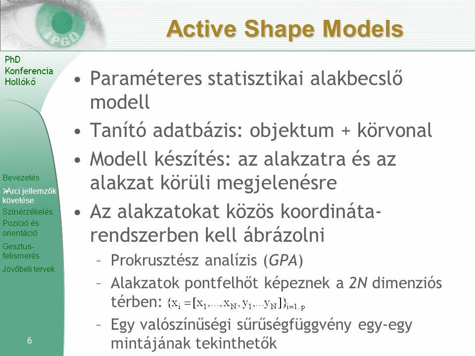 Bevezetés  Arci jellemzők követése Színérzékelés Pozíció és orientáció Gesztus- felismerés Jövőbeli tervek PhD Konferencia Hollókő Active Shape Model