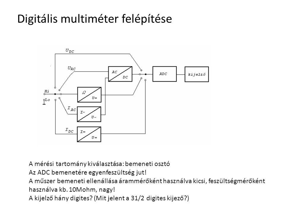 Digitális multiméter felépítése A mérési tartomány kiválasztása: bemeneti osztó Az ADC bemenetére egyenfeszültség jut! A műszer bemeneti ellenállása á