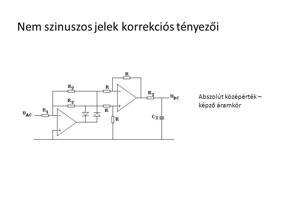 Nem szinuszos jelek korrekciós tényezői Abszolút középérték – képző áramkör