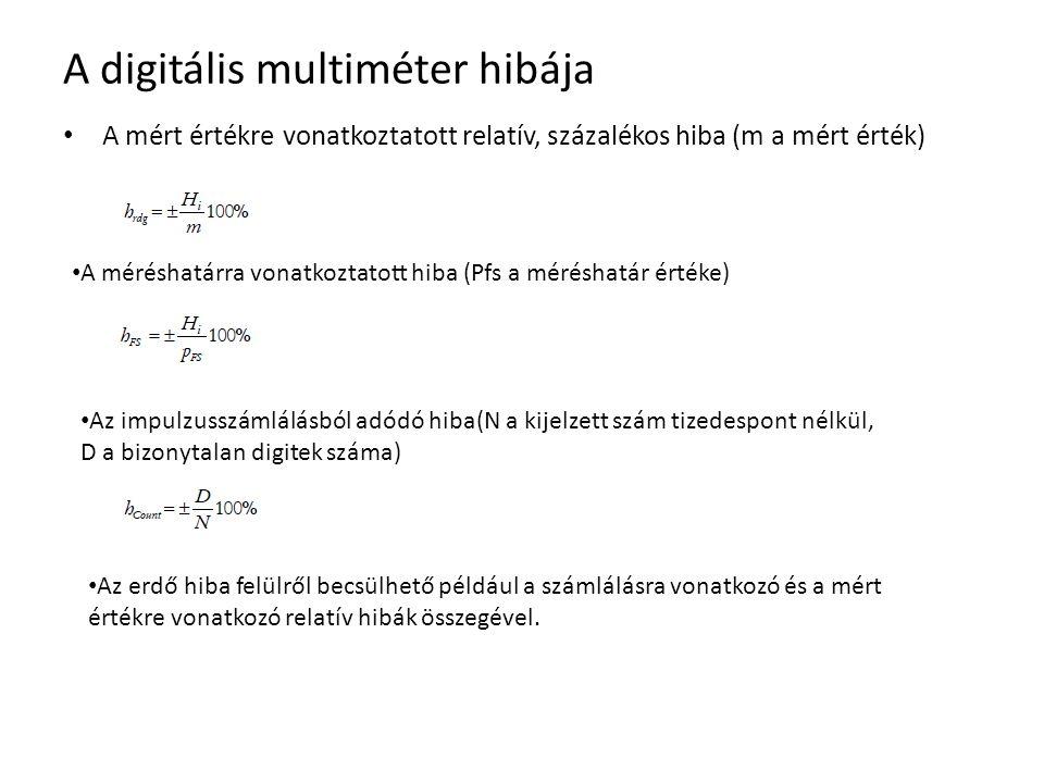 A digitális multiméter hibája A mért értékre vonatkoztatott relatív, százalékos hiba (m a mért érték) A méréshatárra vonatkoztatott hiba (Pfs a mérésh