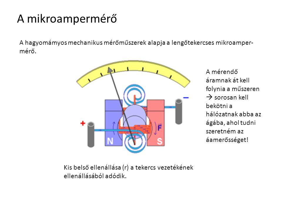 A mikroampermérő A hagyomámyos mechanikus mérőműszerek alapja a lengőtekercses mikroamper- mérő. Kis belső ellenállása (r) a tekercs vezetékének ellen