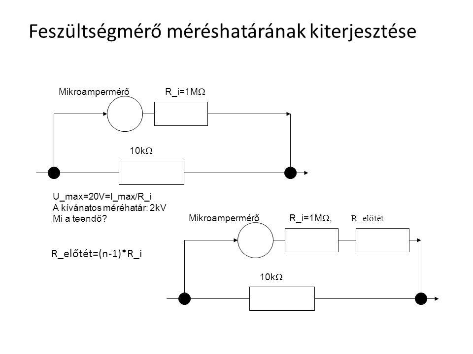 Feszültségmérő méréshatárának kiterjesztése Mikroampermérő R_i=1M  U_max=20V=I_max/R_i A kívánatos méréhatár: 2kV Mi a teendő? 10k  Mikroampermérő R