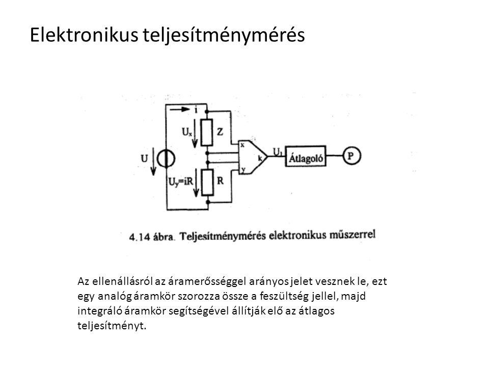 Elektronikus teljesítménymérés Az ellenállásról az áramerősséggel arányos jelet vesznek le, ezt egy analóg áramkör szorozza össze a feszültség jellel,