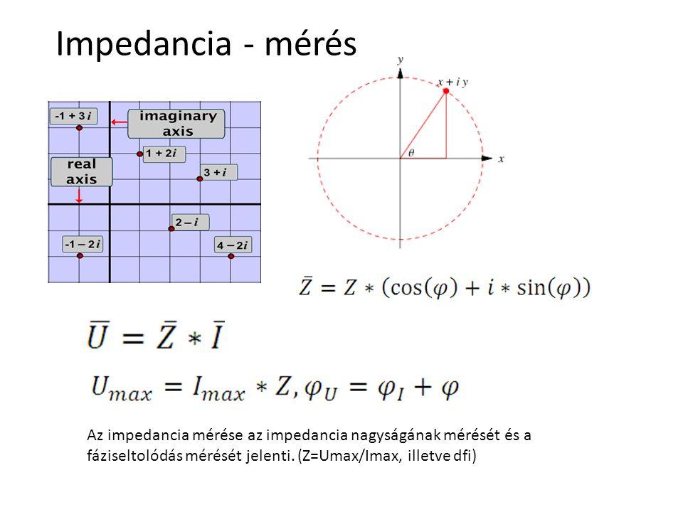 Impedancia - mérés Az impedancia mérése az impedancia nagyságának mérését és a fáziseltolódás mérését jelenti. (Z=Umax/Imax, illetve dfi)