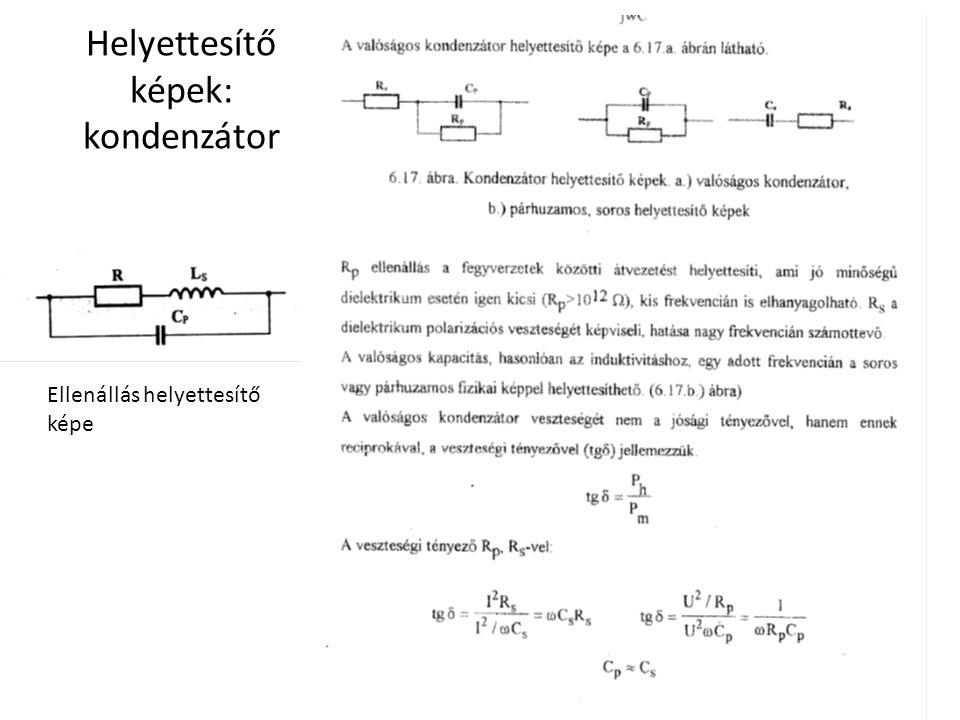 Helyettesítő képek: kondenzátor Ellenállás helyettesítő képe
