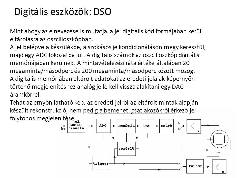 Digitális eszközök: DSO Mint ahogy az elnevezése is mutatja, a jel digitális kód formájában kerül eltárolásra az oszcilloszkópban. A jel belépve a kés
