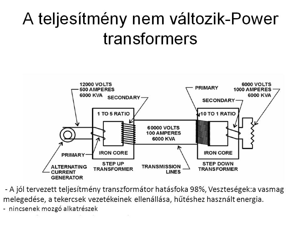 - A jól tervezett teljesítmény transzformátor hatásfoka 98%, Veszteségek:a vasmag melegedése, a tekercsek vezetékeinek ellenállása, hűtéshez használt
