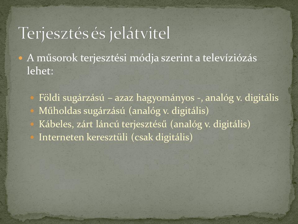A műsorok terjesztési módja szerint a televíziózás lehet: Földi sugárzású – azaz hagyományos -, analóg v. digitális Műholdas sugárzású (analóg v. digi