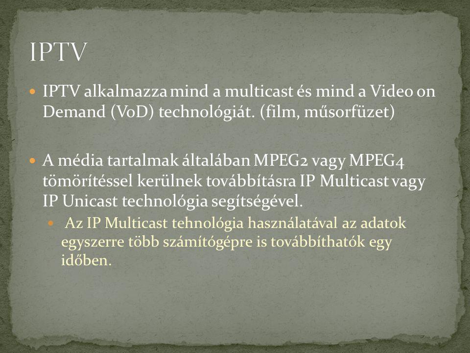 IPTV alkalmazza mind a multicast és mind a Video on Demand (VoD) technológiát. (film, műsorfüzet) A média tartalmak általában MPEG2 vagy MPEG4 tömörít