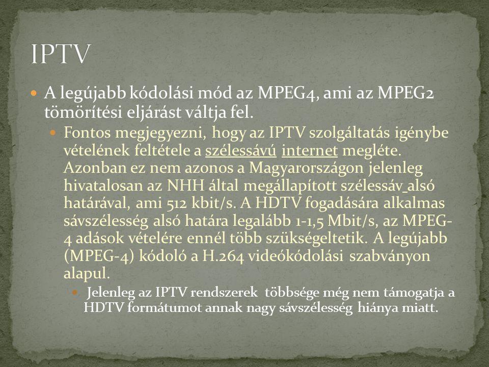 A legújabb kódolási mód az MPEG4, ami az MPEG2 tömörítési eljárást váltja fel. Fontos megjegyezni, hogy az IPTV szolgáltatás igénybe vételének feltéte