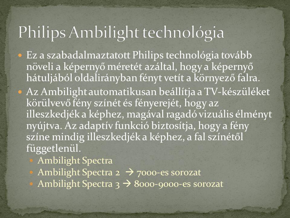 Ez a szabadalmaztatott Philips technológia tovább növeli a képernyő méretét azáltal, hogy a képernyő hátuljából oldalirányban fényt vetít a környező falra.