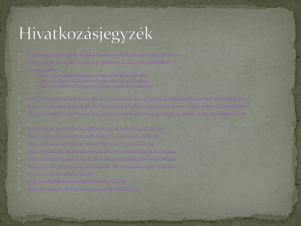 http://hazimozienciklopedia.arucikk.hu/product_info.php/products_id/67/fenyero-/ http://www.deluxe.hu/cikk/20050629/10_szempont_az_lcd_tevek_vasarlasa