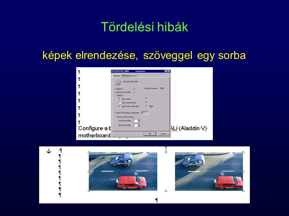 Tördelési hibák képek elrendezése, szöveggel egy sorba