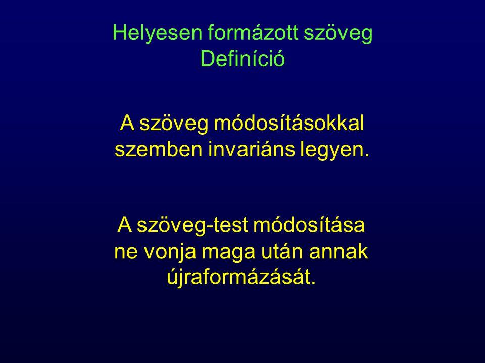 Helyesen formázott szöveg Definíció A szöveg-test módosítása ne vonja maga után annak újraformázását.