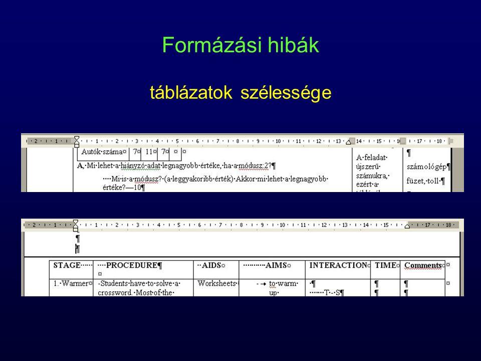 Formázási hibák táblázatok szélessége