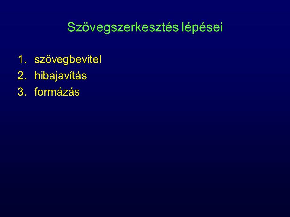 Szövegszerkesztés lépései 1.szövegbevitel 2.hibajavítás 3.formázás